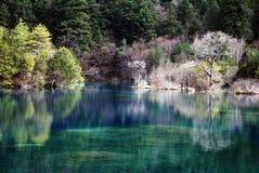 Lago em Jiuzhaigou com cacho colorido e água azul Foto de Stock Royalty Free