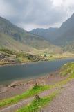Lago em montanhas alpinas fotografia de stock royalty free