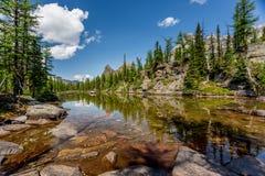 Lago em Opabin Plateu Fotografia de Stock