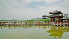 Lago en el parque chino, Xi'an, Shaanxi, China metrajes