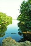 Lago en el parque viejo del molino, Little Rock del norte fotografía de archivo