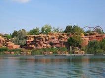Lago en el puerto Aventura España del parque imagen de archivo