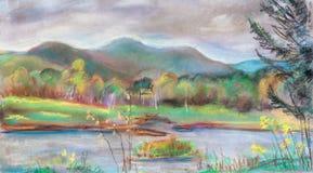 Lago en finales del verano libre illustration