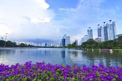 Lago en la ciudad fotos de archivo