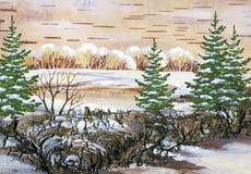 Lago en madera Foto de archivo libre de regalías