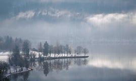 Lago enevoado Bohinj da tarde do inverno, Eslovênia Imagens de Stock Royalty Free