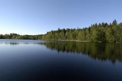Lago ensolarado com as árvores que refletem na direita Imagem de Stock Royalty Free