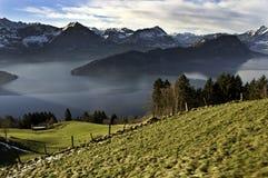 Lago Erbaspagna dalla ferrovia di Mt Rigi Fotografia Stock