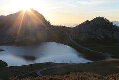 Lago Ercina, Cangas de OnÃs, Espagne Photographie stock