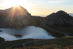 Lago Ercina, Cangas de OnÃs, Espanha Fotografia de Stock