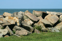 Lago Erie Breakwalls 2 Fotografia Stock Libera da Diritti