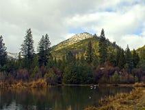 Lago escénico en montañas Fotografía de archivo