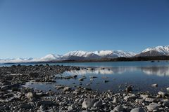 Lago escénico new Zealand y Mountain View imagen de archivo libre de regalías