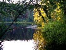Lago evening com uma superfície do espelho Imagem de Stock