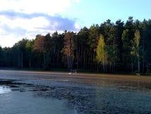 Lago evening no por do sol Imagem de Stock