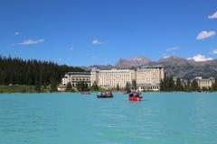 Lago famoso Louise Hotel chateau de Fairmont Imagens de Stock