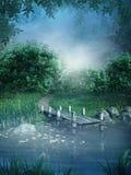 Lago fantasy stock de ilustración