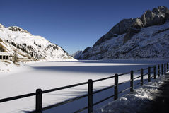 Lago Fedaia with Civetta Mountain in the background, Dolomites, Val di Fassa Royalty Free Stock Images