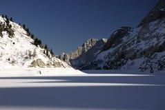Lago Fedaia with Civetta Mountain in the background, Dolomites, Val di Fassa Stock Image
