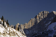 Lago Fedaia with Civetta Mountain in the background, Dolomites, Val di Fassa Stock Photos