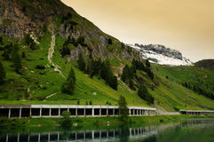 Lago Fedaia at the Marmolada, Dolomites, Val di Fassa Royalty Free Stock Photos