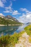 Lago Fedaia nelle alpi delle dolomia, Italia Immagine Stock Libera da Diritti