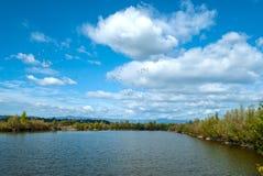 Lago fishing un giorno soleggiato di autunno Fotografie Stock