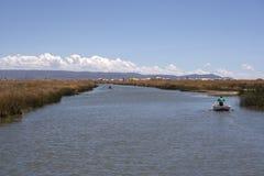 Lago flotante Titicaca island Imágenes de archivo libres de regalías