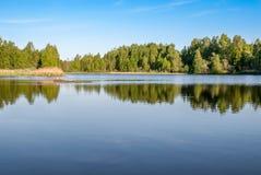 Lago forest con la riflessione degli alberi e cielo con le nuvole Immagini Stock