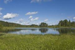 Lago forest con le riflessioni delle nubi Fotografia Stock Libera da Diritti