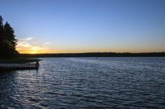 Lago in foresta, Polonia, Masuria, podlasie Immagini Stock Libere da Diritti