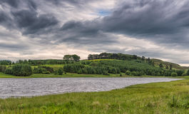 Lago & Forrest Piperdam in Scozia in Scozia sotto la SK piovosa Fotografia Stock