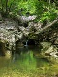 Lago fra la roccia ed il legno Immagini Stock