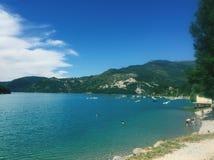 Lago Francia Castillon Foto de archivo