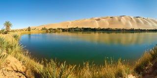 Lago Gaberoun - oasis del desierto, Sáhara, Libia Imagen de archivo libre de regalías