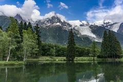 Lago Gaillands con un punto di vista di Mont Blanc Chamonix-Mont-Blanc france Fotografia Stock