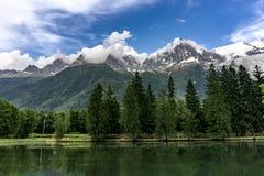 Lago Gaillands con un punto di vista di Mont Blanc Chamonix-Mont-Blanc france Immagine Stock Libera da Diritti