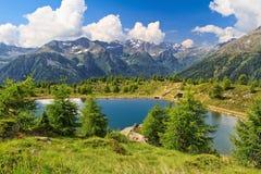 Lago Gembri di dei della dormita in valle di Pejo Fotografia Stock