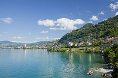 Lago Genebra em Montreux Imagem de Stock Royalty Free