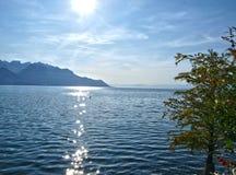 Lago Genebra/Sun Foto de Stock Royalty Free