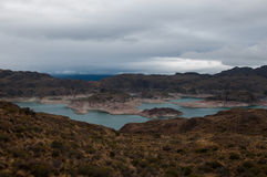 Lago general Carrera, Austral Carretera, huvudväg 7, Chile Arkivfoton