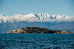 Lago general Carrera, Austral Carretera, huvudväg 7, Chile Arkivbild