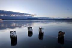 Lago geneva alla mattina con le montagne Fotografie Stock