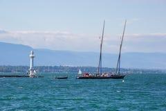 Lago geneva della barca di Nettuno Fotografia Stock Libera da Diritti