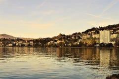Lago geneva, Montreaux, Svizzera nelle tonalità d'annata Immagine Stock Libera da Diritti
