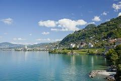 Lago Ginebra en Montreux Imagen de archivo libre de regalías