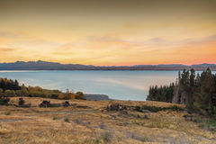 Lago glacial Pukaki Foto de archivo libre de regalías