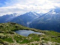 Lago glaciale di estate vicino a Chamonix-Mont-Blanc, alpi francesi Fotografia Stock Libera da Diritti