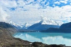 Lago glacier in alpi del sud Fotografie Stock