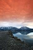 Lago glacier no por do sol bonito fotos de stock
